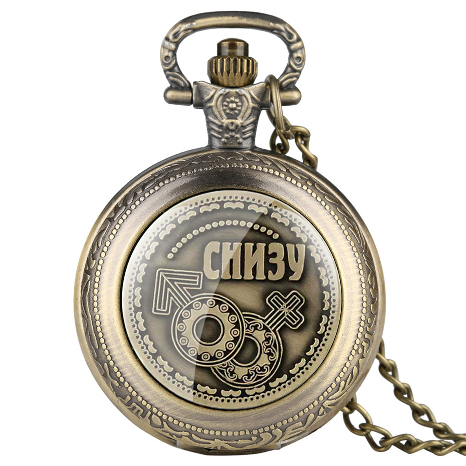 Antique Russian Coins Display Quartz Pocket Watch Exquisite Souvenir Pendant Watch Bronze Necklace Chain Clock Collection Gifts
