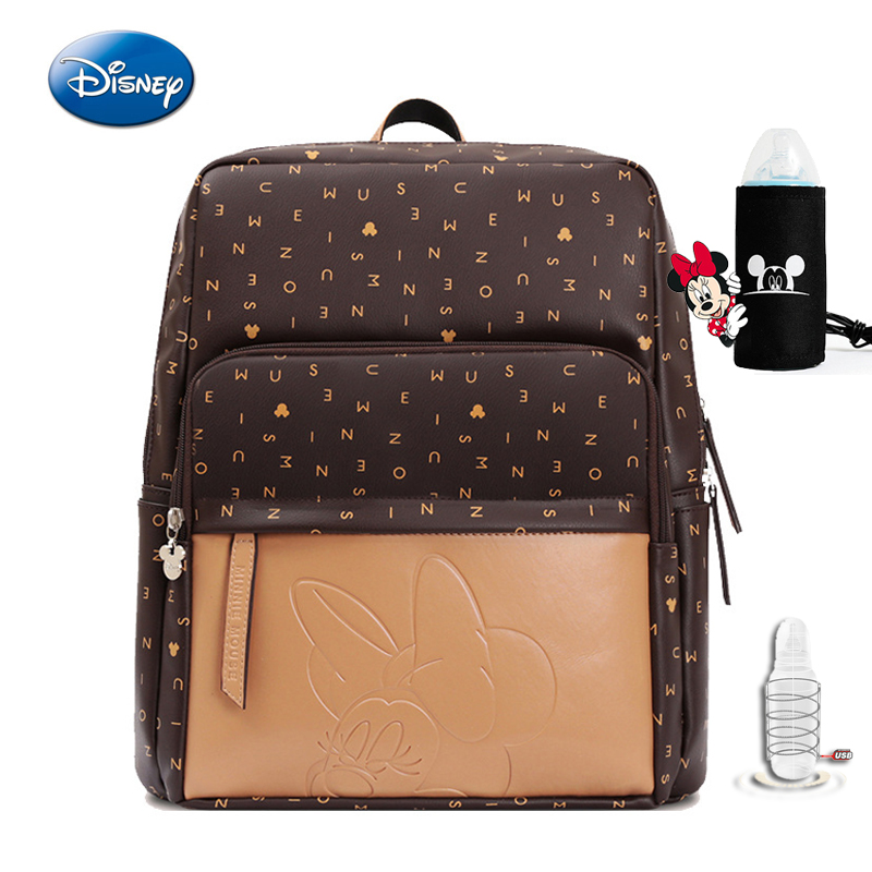 Disney USB Anti-theft Diaper Bag PU Leather Large Capacity Lnsulation Woman Bags Cartoon Pattern Kid Fashion Mom Travel Backpack