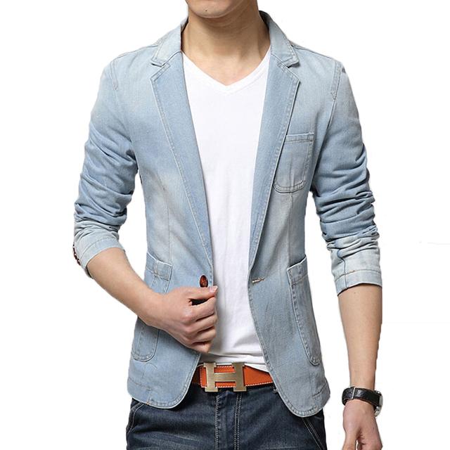 Blazer Men Trend Jeans Suits Men's Casual Suit Jean Jacket Mens Slim Fit Denim Jacket Suit Men Cotton Jackets Costume homme Coat
