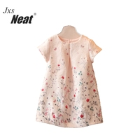 NEAT HMBB 2017 Retail Summer Baby Girl Dress Chinese Wind Pure Color Retro Print Butterfly Baby