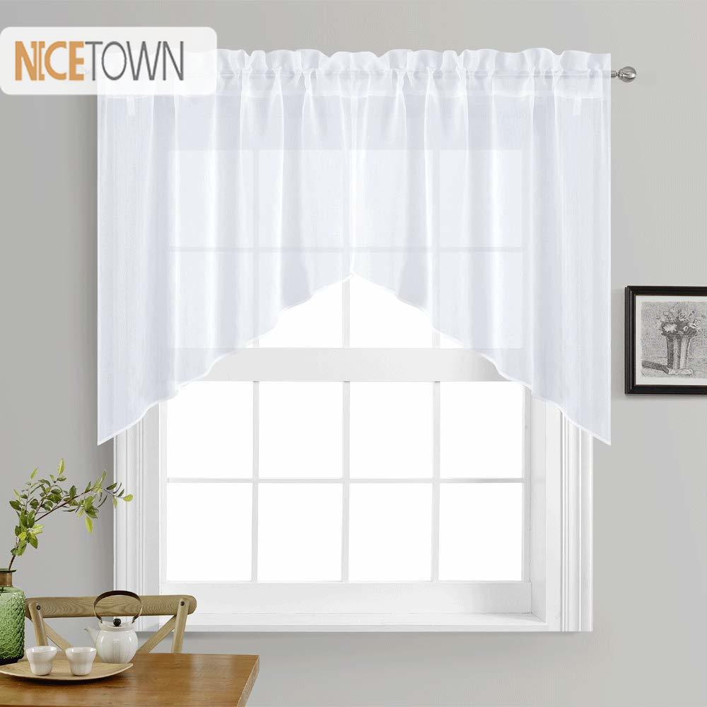 US $8.99 10% OFF|NICETOWN White Rod Pocket Faux Linen Textured Swags  Kitchen Curtains Valance Sheer for Home Decor Small Window, 1 Pair-in  Curtains ...