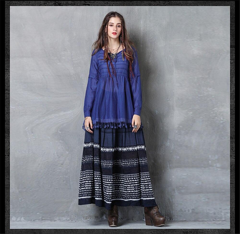 Vintage Women Slik Tassel Blouse 2019 Autumn Silk Women's Blouse Shirts Cotton Pullover Blouses Solid Dark Blue Top B9225 (6)