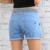 Más el Tamaño era delgada de manga corta 2017 Ocasional Pantalones Cortos de Cintura Alta Las Mujeres de Talle Alto Pantalones Cortos de Mezclilla Pantalones Vaqueros de Cintura Elástica Pantalones Cortos W985