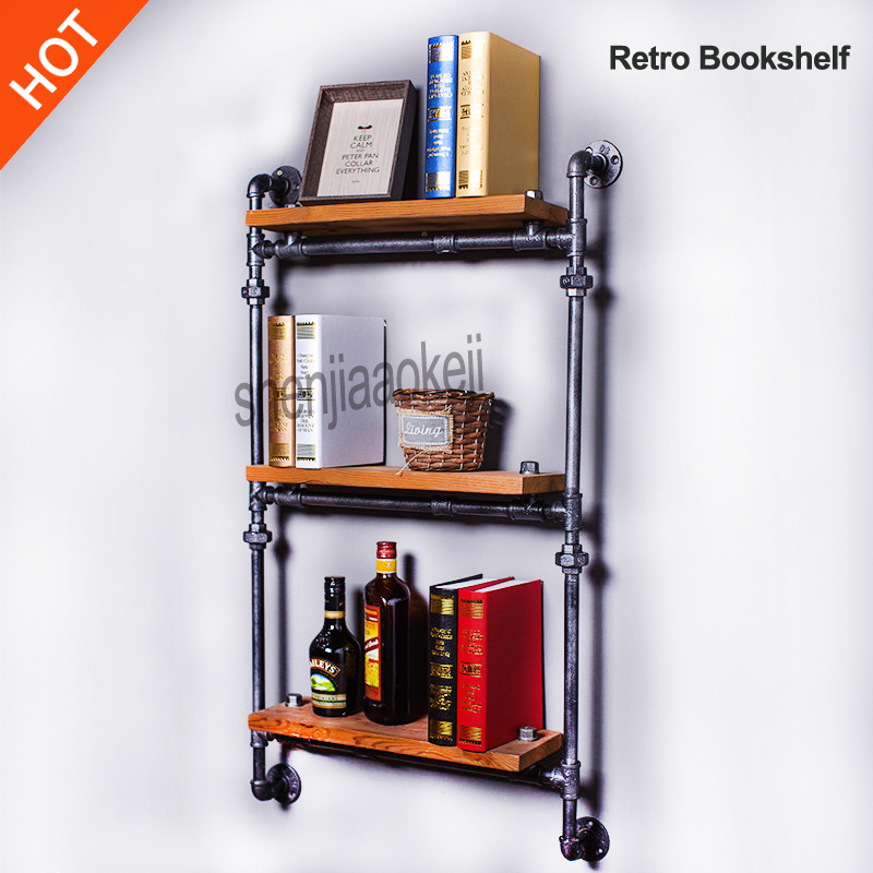 Wall Hanging ThreeTiers Iron Pipe Book Shelf Retro Art Display Shelves Bookcase Decorative Bookshelf Wall storage shelf 1pc
