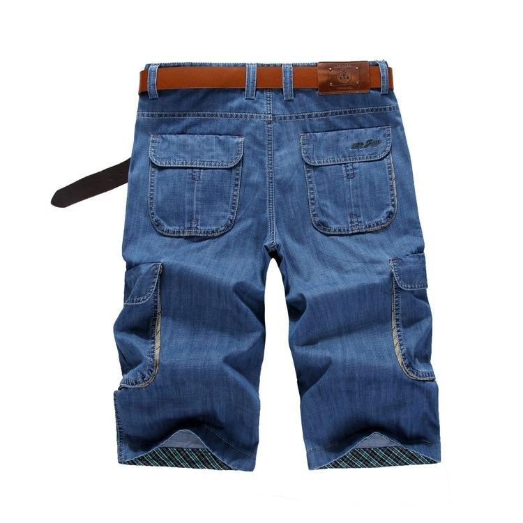 ICPANS 6 Pockets Summer Casual Shorts Male Straight Loose Blue Mens Denim Casual Shorts  Men's Shorts Plus Size 40 42 44