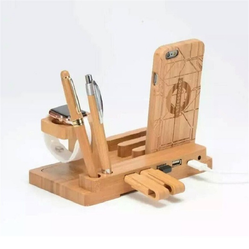 Wood Bamboo Charging Dock Charger Stand Holder For E7 for
