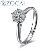 ZOCAI brand 1.5 Carat effect SUMMER STARRY SKY 0.34 CT CERTIFIED H / SI ROUND CUT 18K WHITE GOLD DIAMOND RING W00055