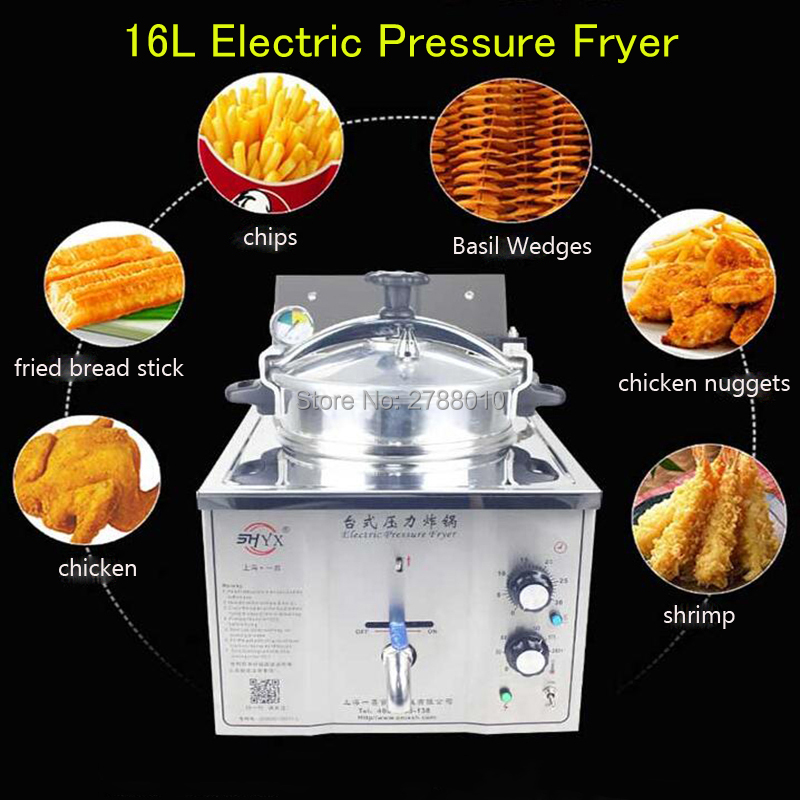 16L Electric Pressure Fryer Steel Commercial Cooking Machine Chicken Duck Fish Meat Vege ...