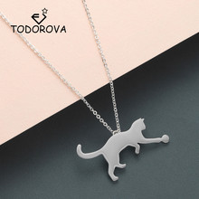 Купить с кэшбэком Todorova New Fashion Cute Animal Jewelry Cat Necklaces & Pendants Rose Gold Chain Men Necklace Womens Jewellery Gifts for Girls
