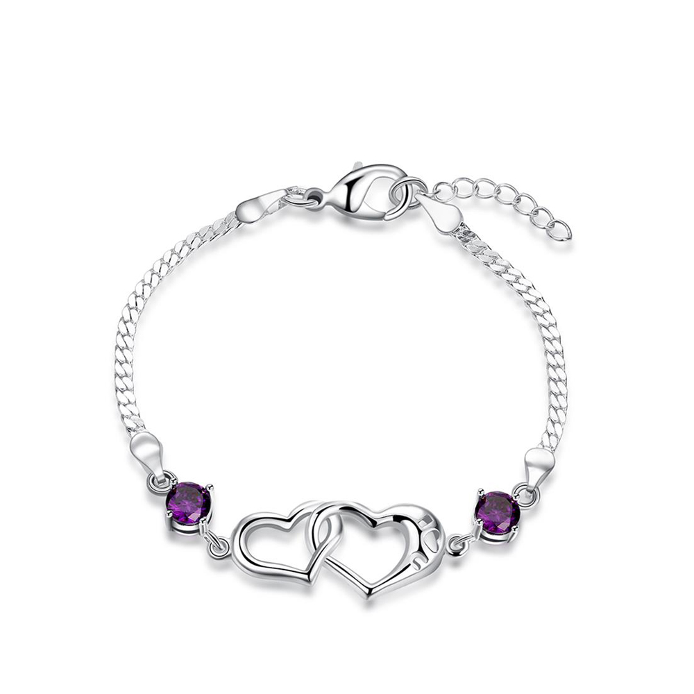 Adjustable Hearts Purple Color AAA Cubic Zirconia Bracelets For Women Charm Elegant Bracelet Bridal Love Gift Jewelry for Women