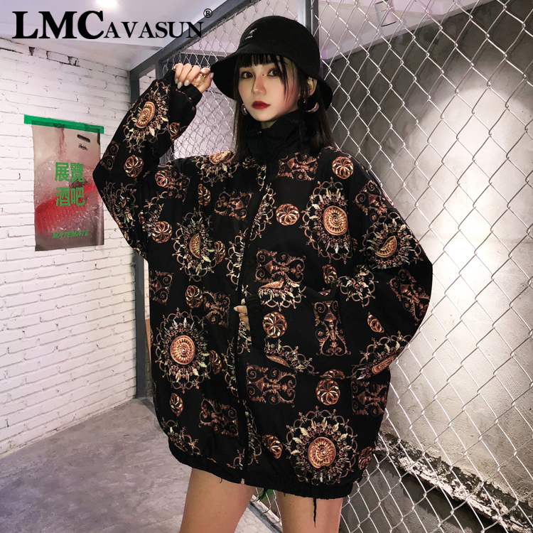 LMCAVASUN 2019 Autumn Retro Jacket Women Loose Long Sleeve Harajuku Coat Thin Outwear