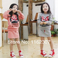 Free shipping spring autunm girl clothing sets hot sale full sleeve children spring clothes set 2pcs