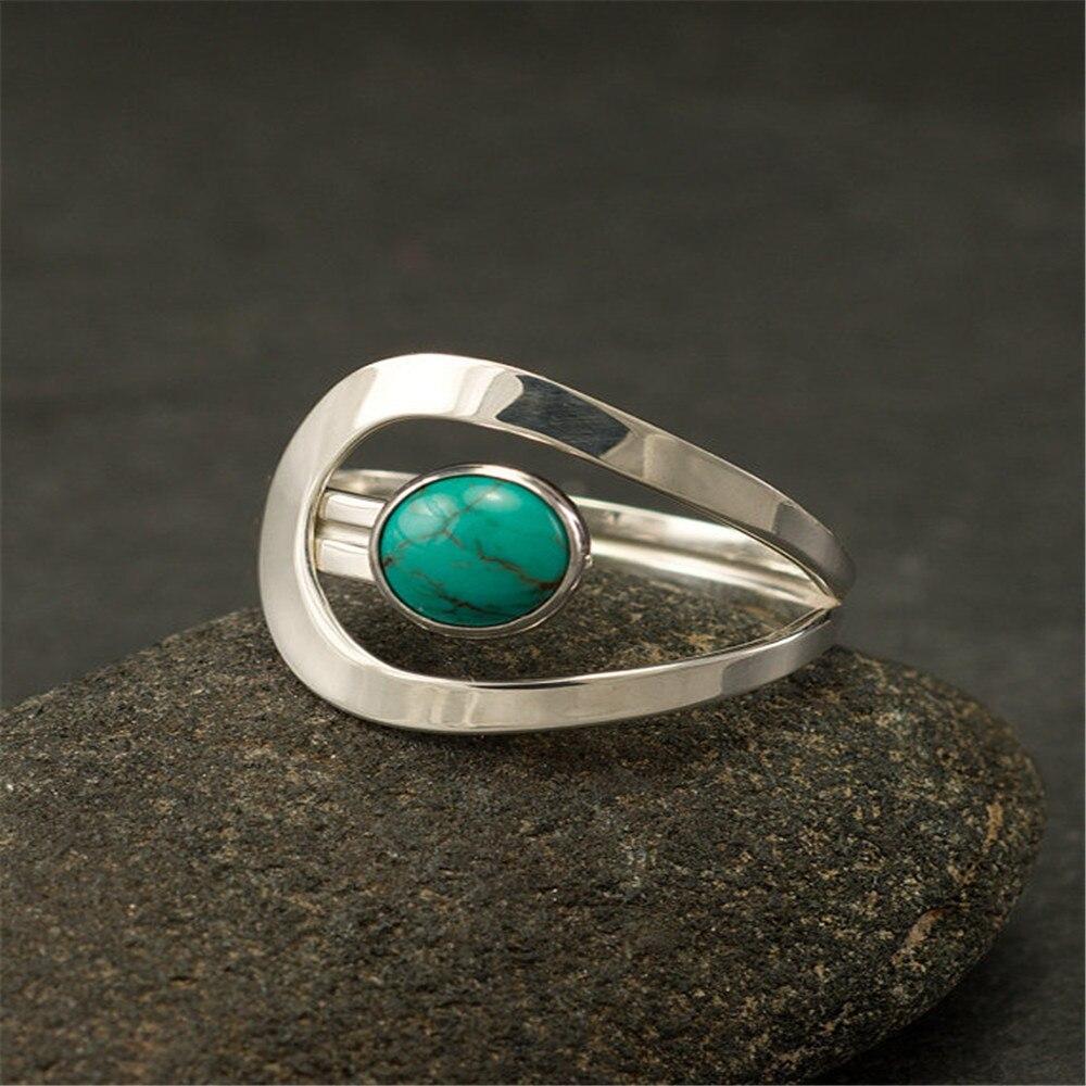 46fb168f553b4 Boho Classic Green Stone Ring Charm Silver Color Rings for Women ...