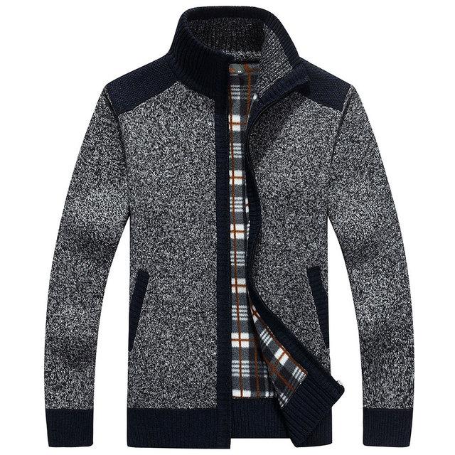 New Arrives Autumn Winter Men's Cardigans Sweaters Mandarin Collar Casual Clothes For Men Zipper Sweater Warm Knitwear Sweater