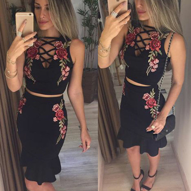 9dd2183b7a Sexy Womens Summer Clothes Sets Bandage V Neck Celeb Crop Top Ruffles Sexy Flower  Skirts Two Piece Set Party Clothes Sets