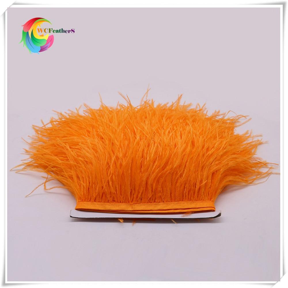 1 метр 32 цвета обрезки из натуральных перьев страуса высота 8-10 см Перья ленты для DIY свадьба на праздник, украшение для платья Ремесло - Цвет: O11 Orange