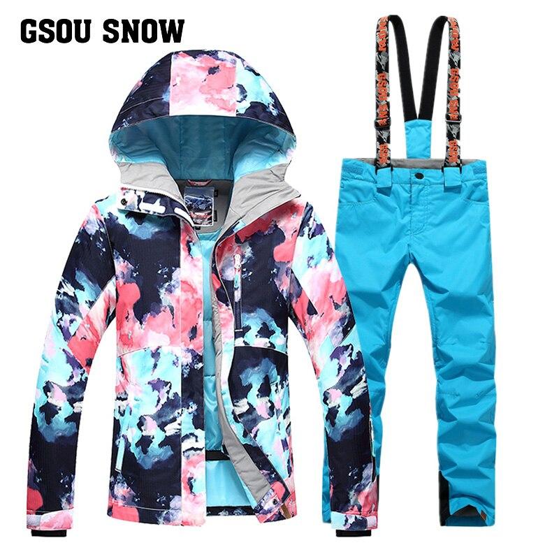 все цены на GSOU SNOW New Women's Single Double Board Ski Suit Warm Windproof Waterproof Ski Jacket+Ski Pants Size XS-L онлайн