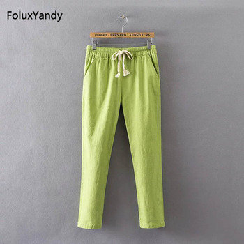 5 Colors Summer Pants Women Plus Size 3 4 XL Casual Loose Strethced Cotton Linen Pencil Pants Trousers KK3291