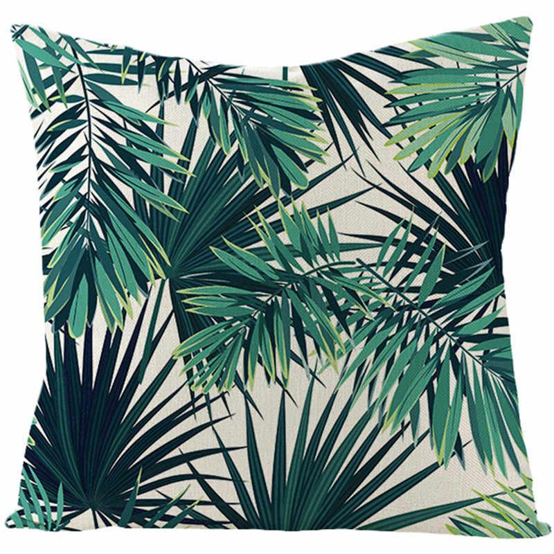 Fuwatacchi Linen Tanaman Sarung Bantal Daun Kelapa Pohon Melempar Bantal Cover Hijau Tanaman Tropis Pola Square Sarung Bantal Linen