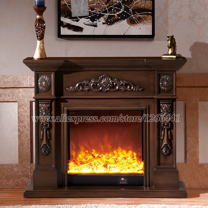living room decorating warming fireplace wooden mantel W120cm plus electric fireplace insert LED