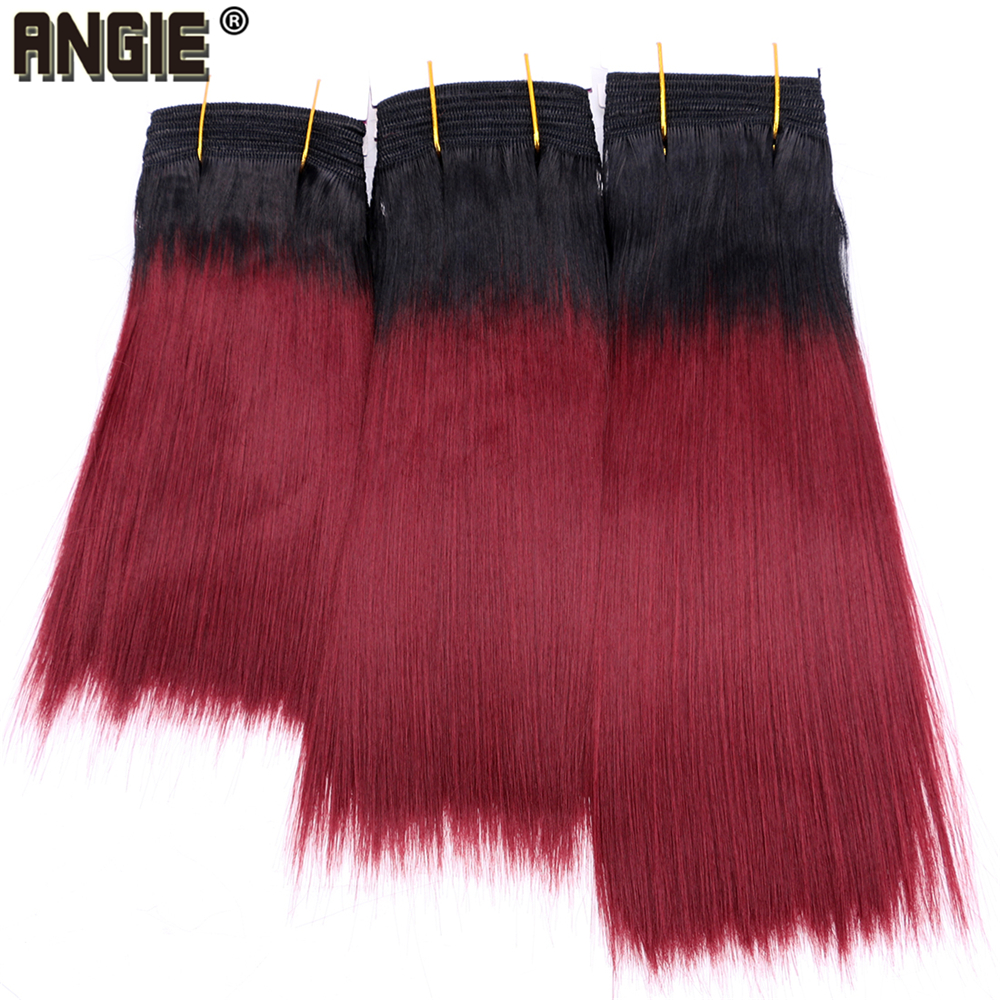 Buy Angie T1B/99J Ombre Color Hair Bundle Synthetic Extensions 8-20 inch Burgundy Hair Weft for only 5.38 USD