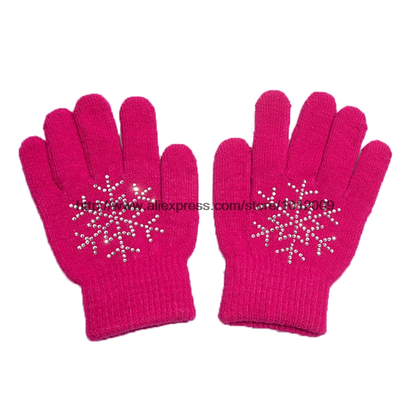 10 Colors Magic Wrist Gloves Figure Skating Ice Training Gloves Exquisite Warm Fleece Thermal Child Adult Snow Rhinestone 11