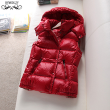 Winter Vest Down Jacket For Girls 2019 New White Duck Feather Sleeveless Hooded Double-breasted Light And Thin Coat Women HJ169 girls duck pattern hooded jacket