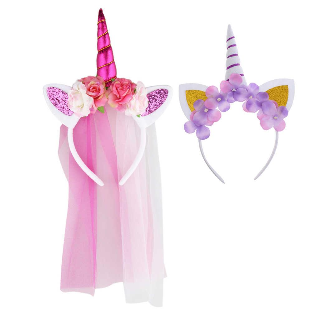 2 пары милых нарядных костюмов с волшебным рогом единорога для девочек