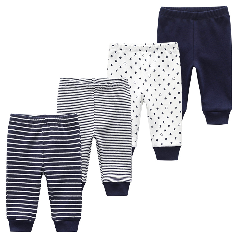 Newborn Baby Long Pants Unisex Girl Boy Trousers 4PCS/LOT Striped Baby Leggings Cotton Pantalones Roupas De Bebe(China)