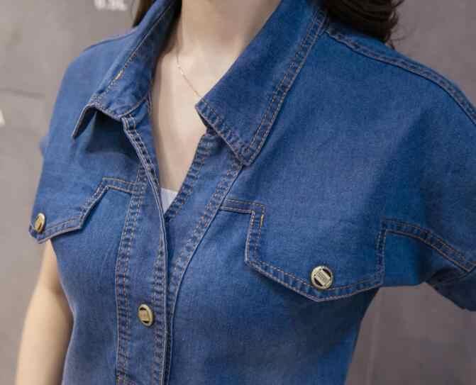 2019 Zomer Denim jurk kantoor vrouwen Vintage Turn-down Kraag Plus Size XXXL jeans jurken Mori Strand jurk MORI vestidos AW692