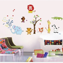 PVC Animal Lion Elephant Vinyl Wall Stickers DIY Jungle Zoo Safari Nursery Baby Kids Bedroom Decor