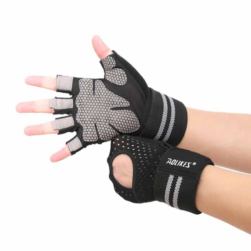 US Women Cycling Gloves Anti-slip Half Finger Sports Fitness Gym Training Gloves