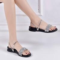 2019 summer women's sandals beach sandals casual non slip sandals silver flat women's