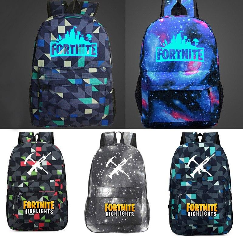Glowing In Dark Cartoon School Bag Kids Gift Bag Game Fortnite Luminous Backpacks Bags Book Rucksacks Figure Toys For Kids Gift