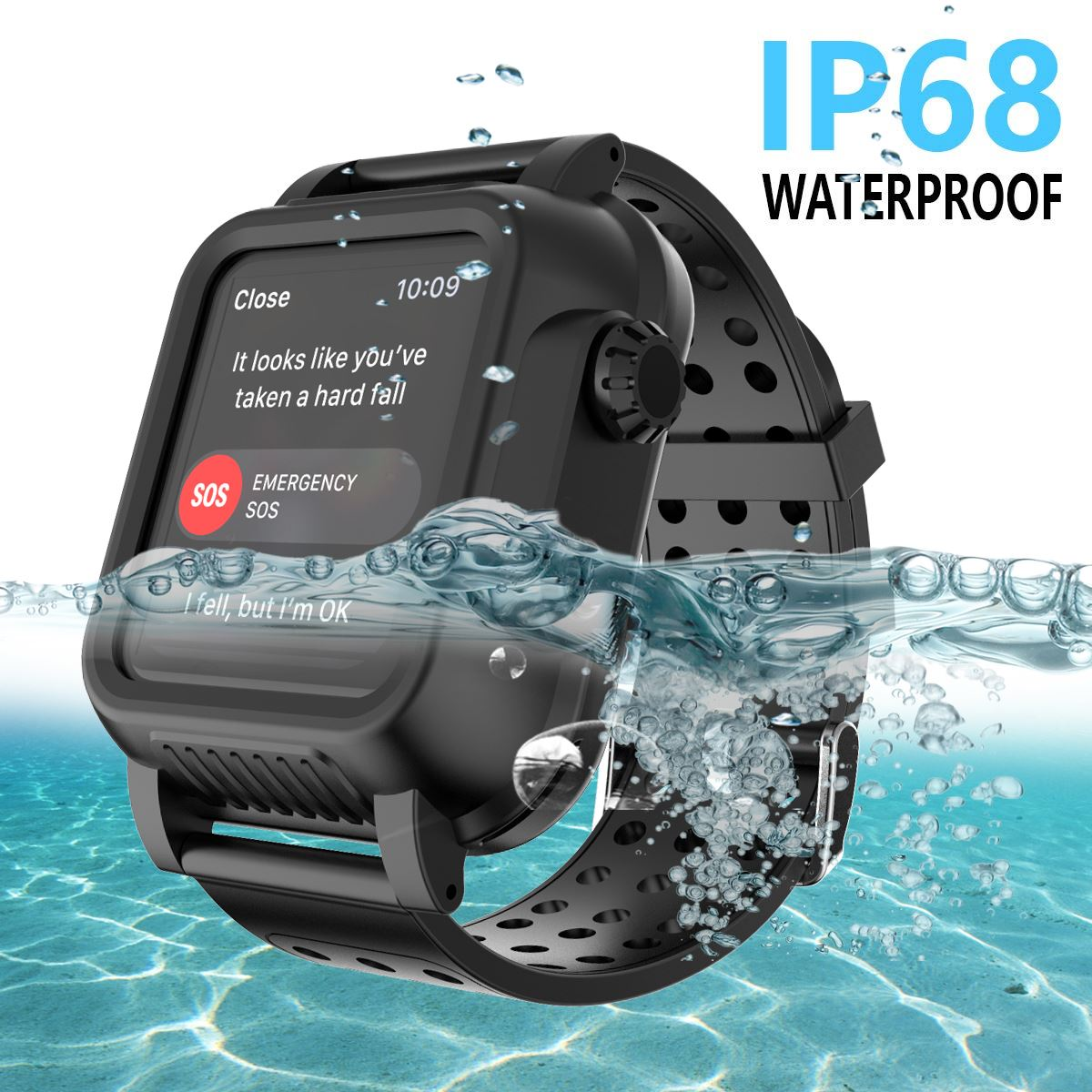 For Apple Watch Series 3 38MM 42MM Case IP68 Waterproof Shockproof PC Bumper for iWatch 42mm with Rubber Band