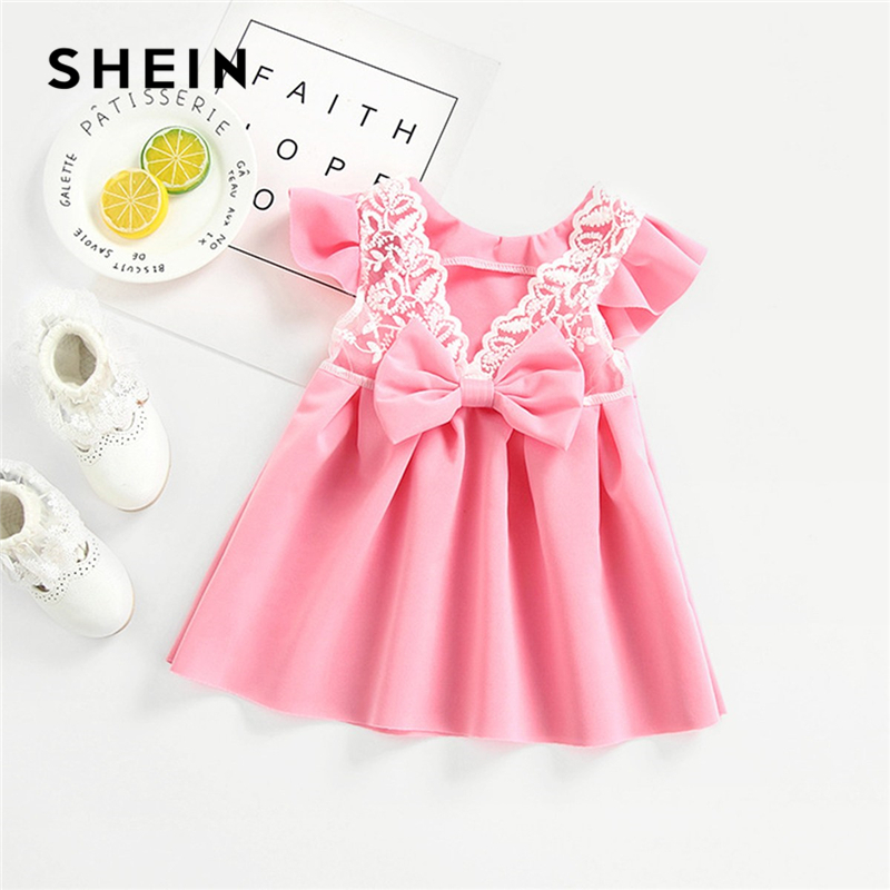 SHEIN Pink Toddler Girls Lace Contrast Bow Box Pleated Casual Dress Girls Clothing 2019 Cap Sleeve Ruffle Flared Cute Girl Dress ruffle strap and hem striped dress