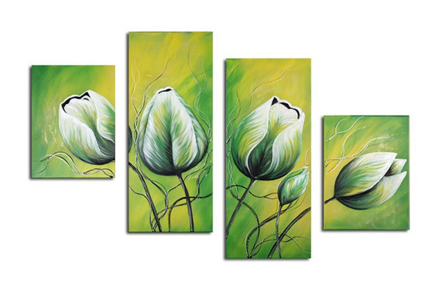 4 Panel Pictures Modern Wall Art Canvas Acrylic Floral Paintings For Sale  Hand Painted Abstract