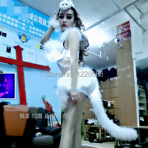 New 2015 Fox Cat Hot Sexy Women Led Light Stage Outfit Clothes Female Singer Star Costume Jazz Dance Stage Costumes For Singers