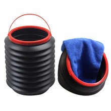 New Outdoor Camping Hiking Car Wash Fishing Folding Bucket Barrel Water Container 4L Color:Black