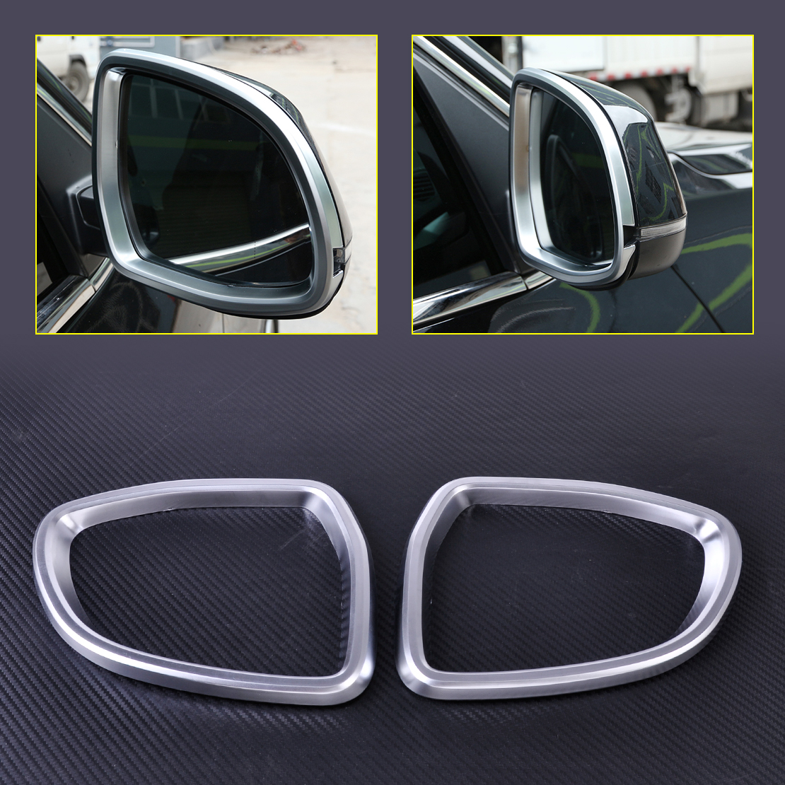 CITALL 2PCS Car Styling Matt Chrome Plated Rear View Mirror Frame Rearview Cover Trim Fit for BMW X5 X6 F15 F16 2014 2015 2016