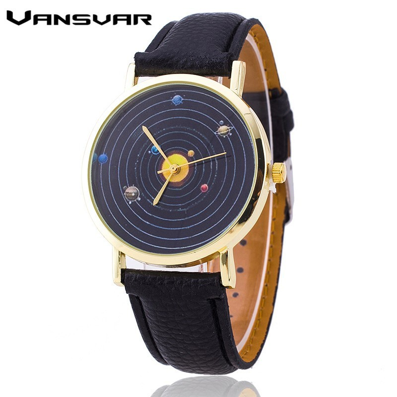 Vansvar Hot Solar System Watch Fashion Women Quartz Watches Casual Ladies Leather Wrist Watch Relogio Feminino Gift vansvar brand fashion casual relogio feminino vintage leather women quartz wrist watch gift clock drop shipping 1903