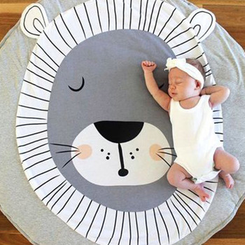 ln stock Play Mat Round Lion Printed Pure Cotton Crawling Blanket Infant Game Pad Play Rug Floor Carpet Baby Gym Decor