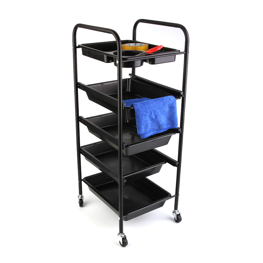 Salon 5 Drawers Hairdressing Trolley Hair Coloring Rolling Storage Cart Professional Barber Hairdresser Trolley Storage Tool cut professional hair salon scissors bag for barber hairdresser pvc hair styling tool kit holder hair clipper s storage pouch black