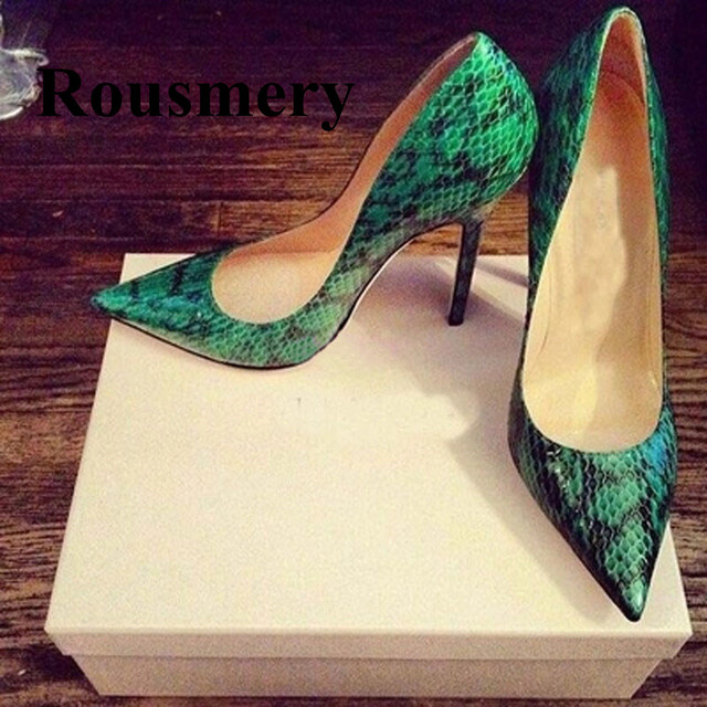 New arrival sexy green snakeskin pumps mixed color pointed toe pumps  fashion women shoes pumps spring autumn women party shoes 2198865a6180