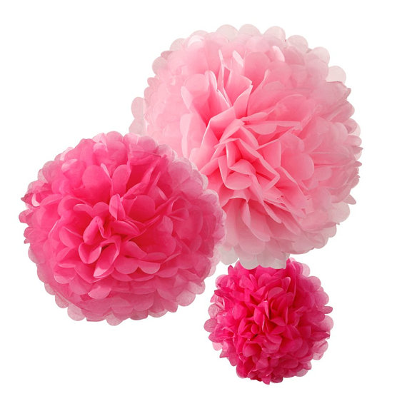 Free Shipping 200pcs Pink Tissue Paper Pompoms/6inch(15cm)/Wedding decorations/Hanging Decorations/Bridal/Baby Shower Favor