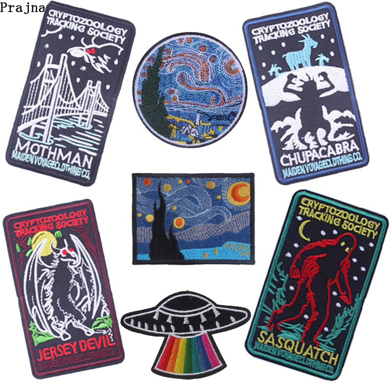 Prajna Van Gogh Patch Unicorn Stickers Iron On Cartoon Embroidery Applique For Jeans Clothing Iron Sticker Stalker Badge Diy Fancy Colours Home & Garden Apparel Sewing & Fabric
