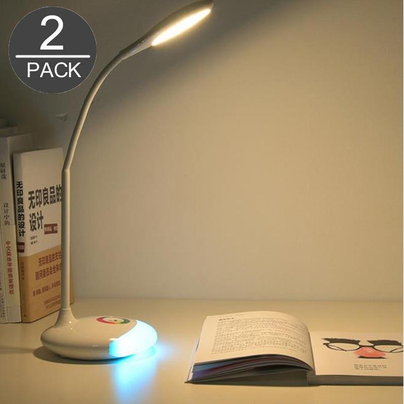 Красочные глаз-защита RGB LED Настольная лампа с Батарея сенсорный выключатель для ребенка 2 Pack