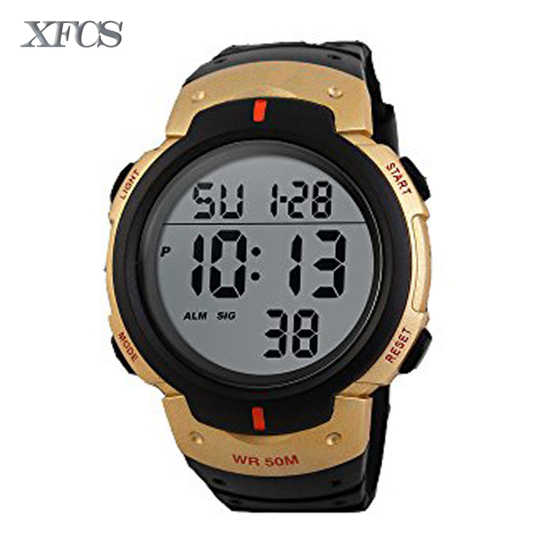 XFCS 2017 waterproof wrist digital watches for men digitais watch running mens man digitales shock clock cheap saat stopwatch