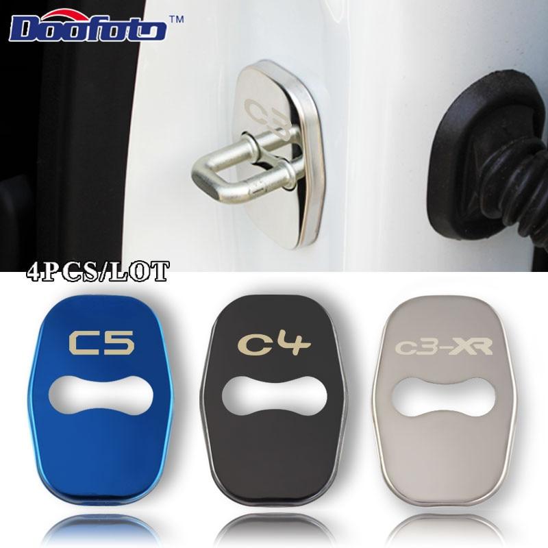Doofoto Car Styling Auto Door Lock Cover Case For Citroen C4 Picasso C4L C3-XR C3 C5 DS5 Badge Stickers Accessories Car-Styling