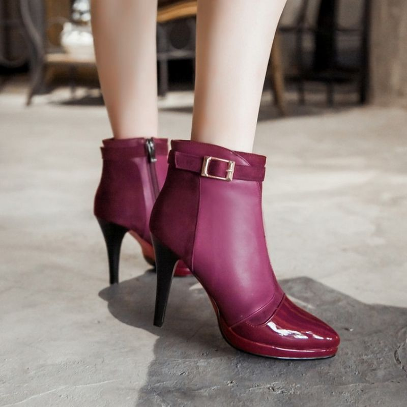 RizaBina size 33-41 women patent leather high heel ankle boots winter warm boot lady sexy riding botas brand footwear P21737
